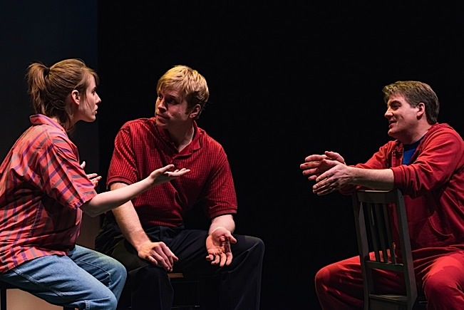 Mia (Anna Sundberg), Toby (Sam Bardwell) and Coach Carlson (Garry Geiken). Photo by Aaron Fenster.