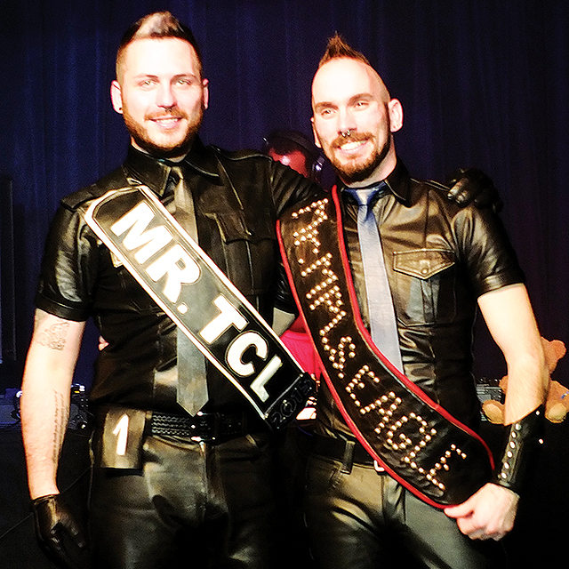 Left to right: Steven Patton, Mr. Twin Cities Leather 2015, and Ren Rushold, Mr. Minneapolis Eagle 2015. Photo by Steve Lenius