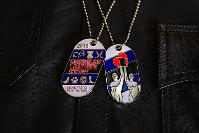 The front and back of the 2015 Minnesota Leather Pride dog tag. Photo by Andrew Bertke.