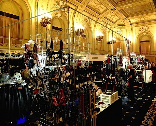 Leather Market vendors in the Congress Plaza Hotel's famous Gold Room. Photo by Steve Lenius.