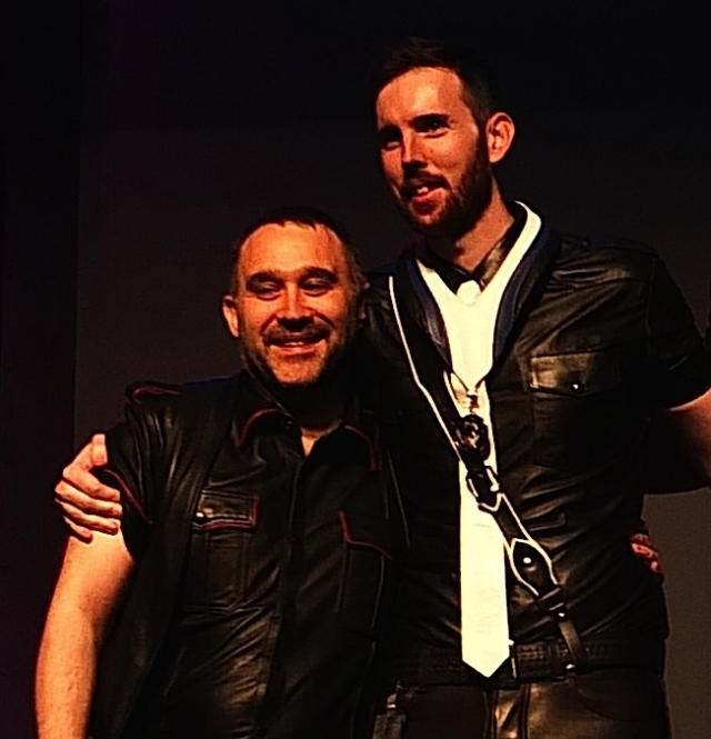 Kevin Murphy, Mr. Leather Ireland 2015 (right), and his fiancé Robert. Photo by Steve Lenius.