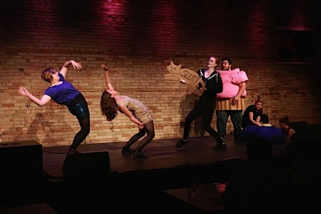 Left to Right: Jenny Moeller, Rebekah Rentzel, Shannon Mae Leach, Chris Stroschein, Alana Horton. Image by Farrington Starnes.