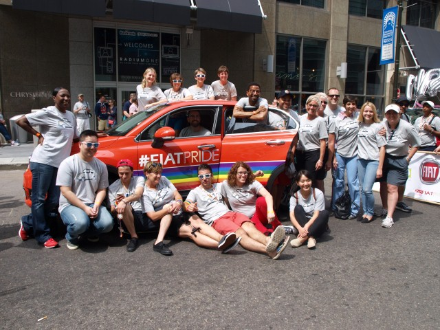 """Members of FCA GALA in front of the """"Grand Marshal"""" 2016 Fiat 500X"""
