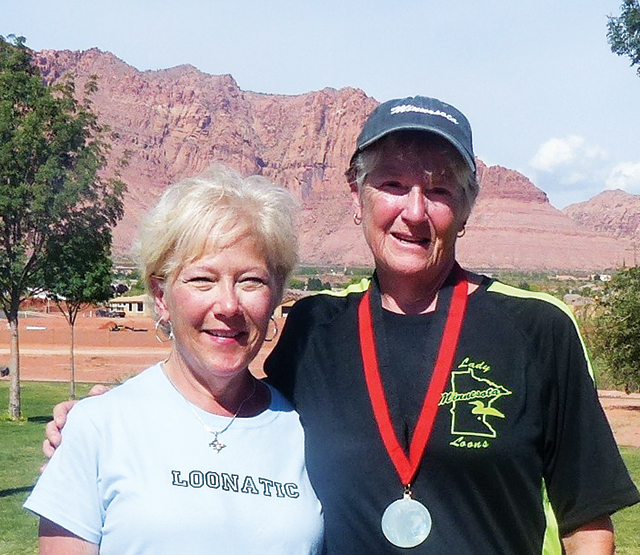 """Jan, right, with her partner, in a """"Loonatic"""" shirt. Photo courtesy of Jan Furuli"""