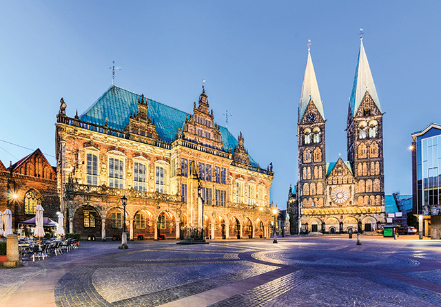 City Hall and the Cathedral of Bremen, Germany.