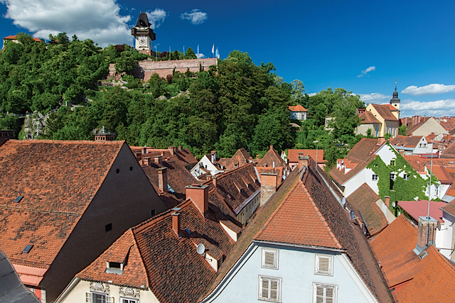 Dachlandschaft Schlossberg. © Graz Tourismus - Harry Schiffer