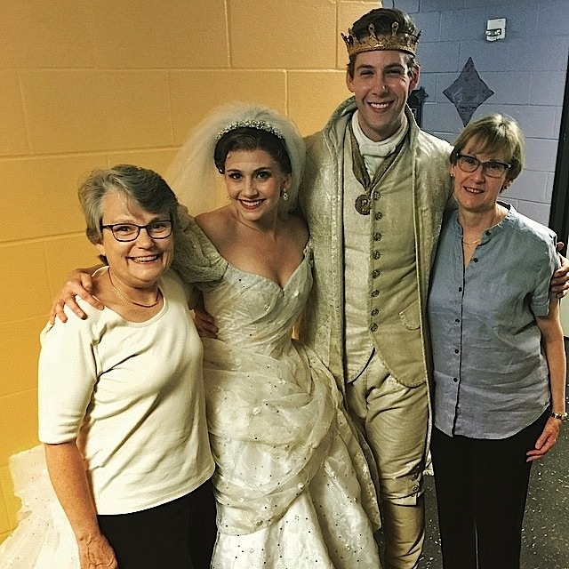 Backstage, Andy Huntington Jones and fiancée Audrey Cardwell as Ella are embraced by Moms Doreen Hodgkin (L) and Linda Jones (R). Photo: Jose Solivan.