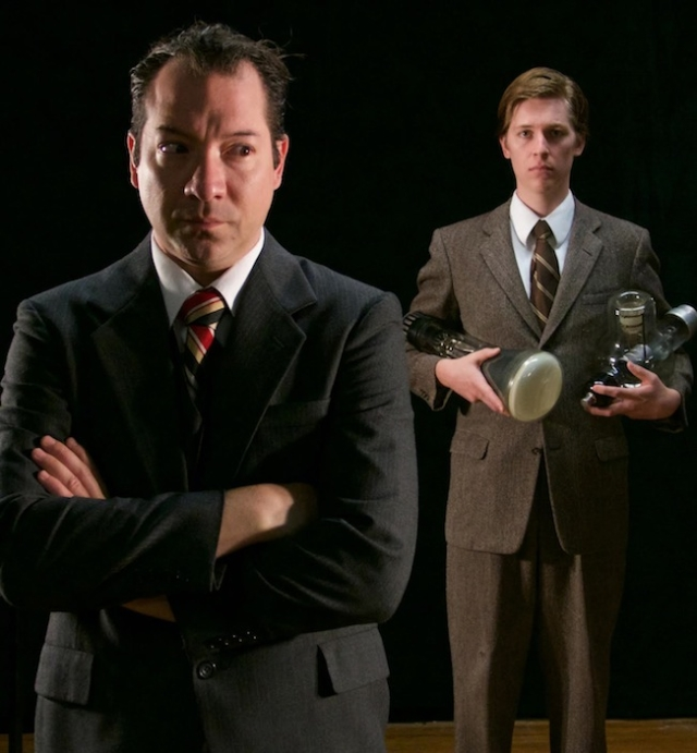 It's 1929 and two visionaries — a ruthless media mogul and a self-taught farm boy — race to complete their invention. Which one will unlock the key to one of the most important developments of the century — who will invent television? THE FARNSWORTH INVENTION, by Aaron Sorkin, performs weekends September 11 – October 4 at Theatre in the Round in Minneapolis. For reservations and information, call the box office at 612-333-3010. Shown: Mark L. Mattison and Pierce Huxtable.