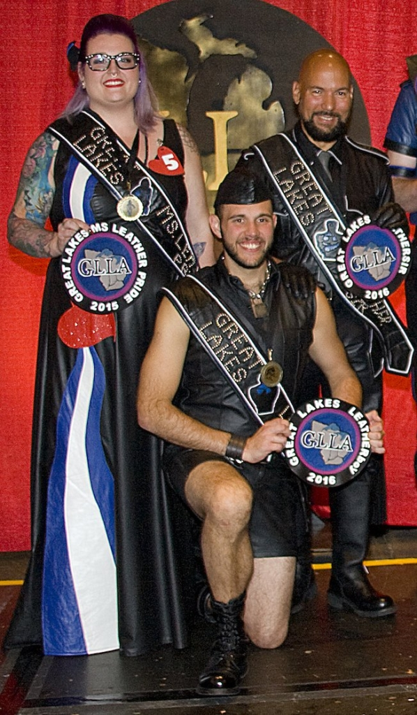 Aurora Lee, Great Lakes Ms Leather Pride 2015; boy Woody, Great Lakes Leatherboy 2016; and Ivan Nunez, Great Lakes Leather Sir 2016. Photo by: Indy Johnson