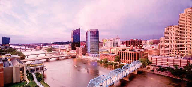Grand Rapids skyline sunset. Photo courtesy of Experience Grand Rapids