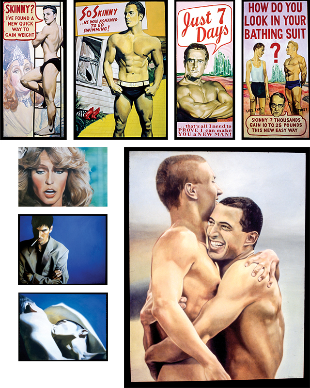 (Clockwise) How Do You Look; Just 7 Days II; So Skinny; Skinny; The Swimmers; Blue Kiss; Blue; Jill Sees Strangler Victim. Paintings by Matt Lillegard