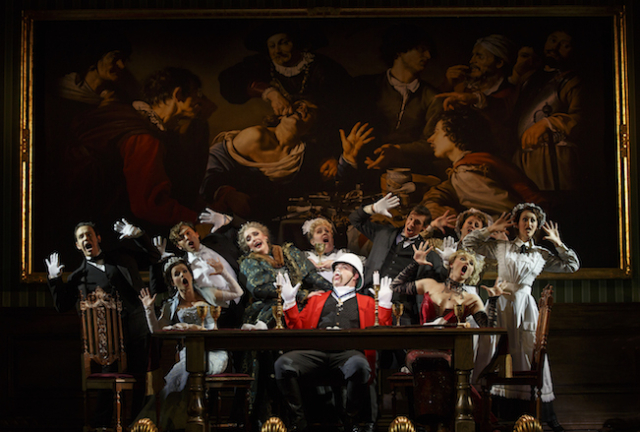 "The cast with John Rapson as Lord Adalbert D'Ysquith (red) in a scene from ""A Gentleman's Guide to Love & Murder."" Photo by Joan Marcus"