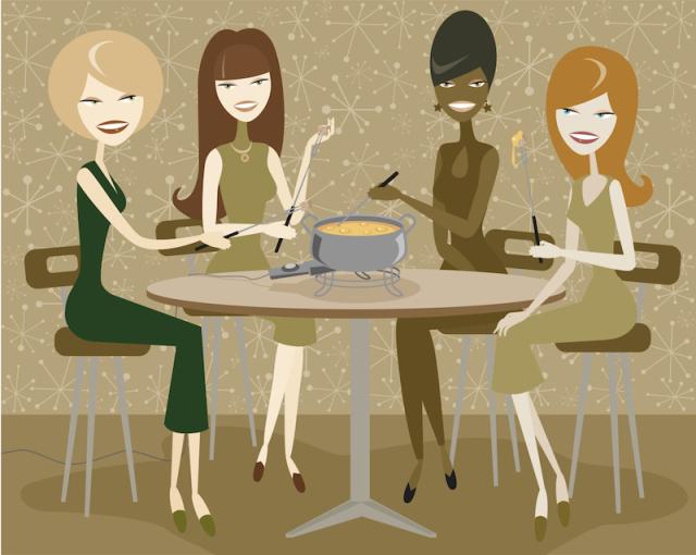 fondue women illustration web