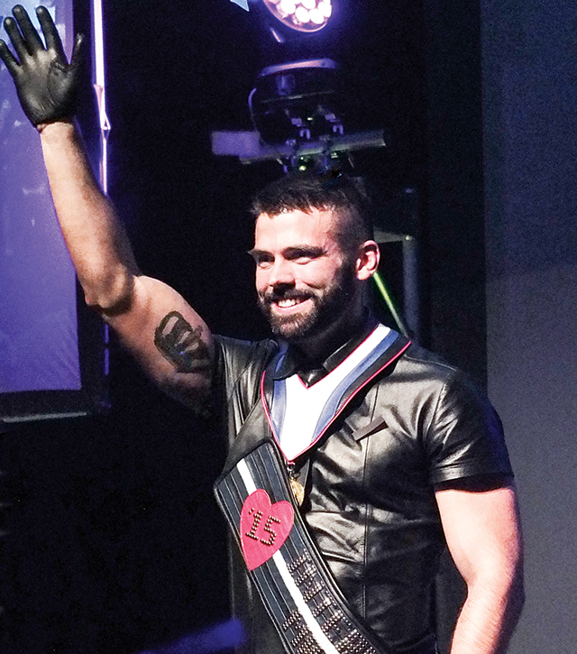 Patrick Smith, moments after winning the International Mr. Leather 2015 title. Photo by Steve Lenius.