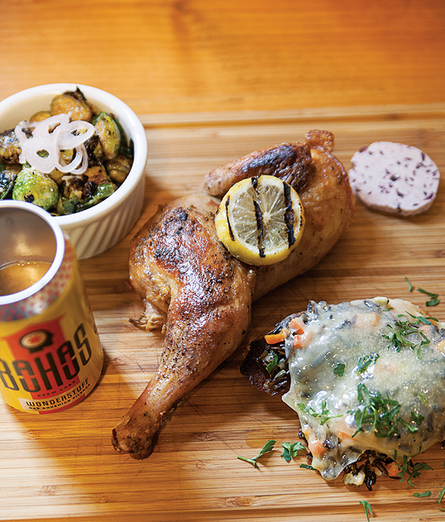 Beer can chicken with Wonderstuff gravy and sides of wild rice crouton with mire poix and gruyere and a delicious serving of brussels sprouts.