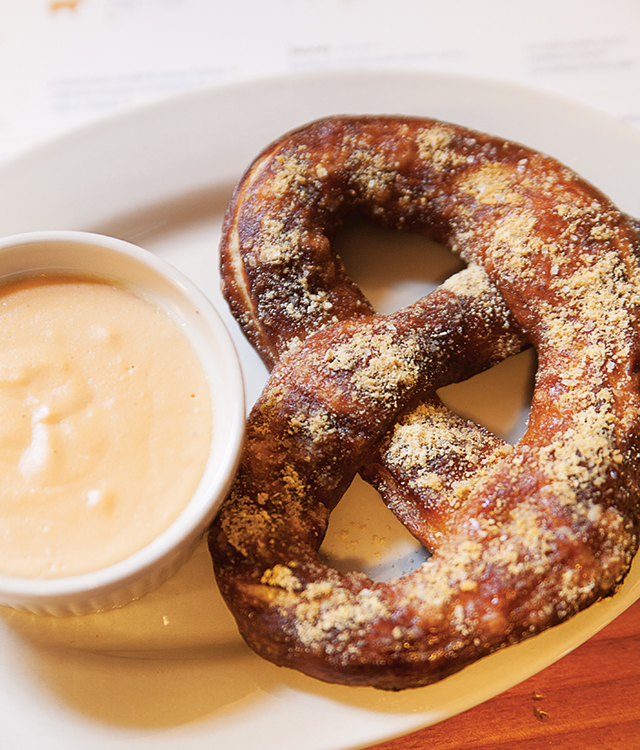 The pretzel with beer cheese sauce.