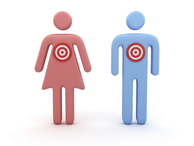 Symbol of man and woman with dartboards instead of hearts