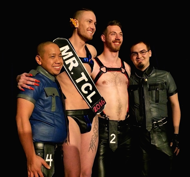 The four contestants for the Mr. Twin Cities Leather 2016 title. Left to right: Anthony Sivanthaphanith, Emerson Kellogg, Steve Sinclair, and Justin Anderson. Photo by Steve Lenius.