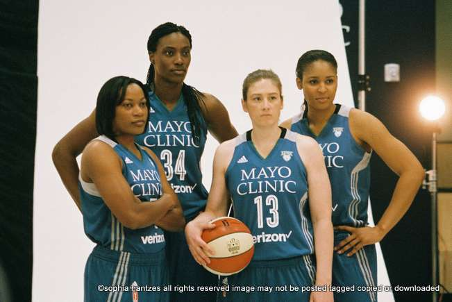 Minnesota Lynx Players l-r Jia Perkins Sylvia Fowles Lindsay Whalen Maya Moore