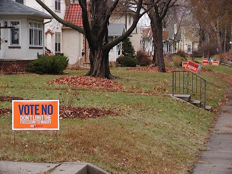 "Proud memories: ""Vote No"" lawn signs in 2012. Photo by Steve Lenius."