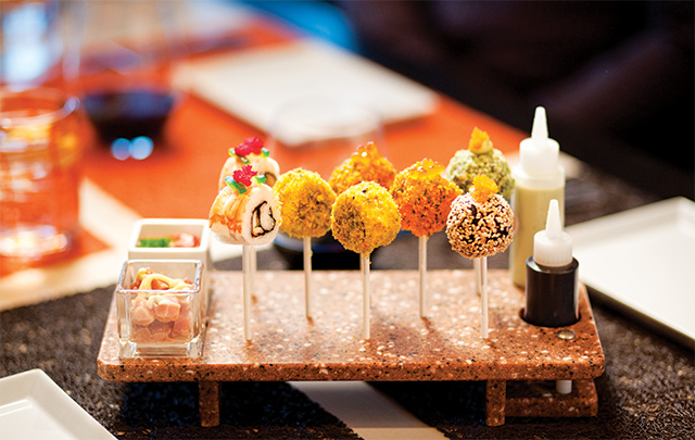 Sushi lollipops at Qsine, one of the specialty restaurants aboard the Celebrity Summit. Photo courtesy of Celebrity Cruises