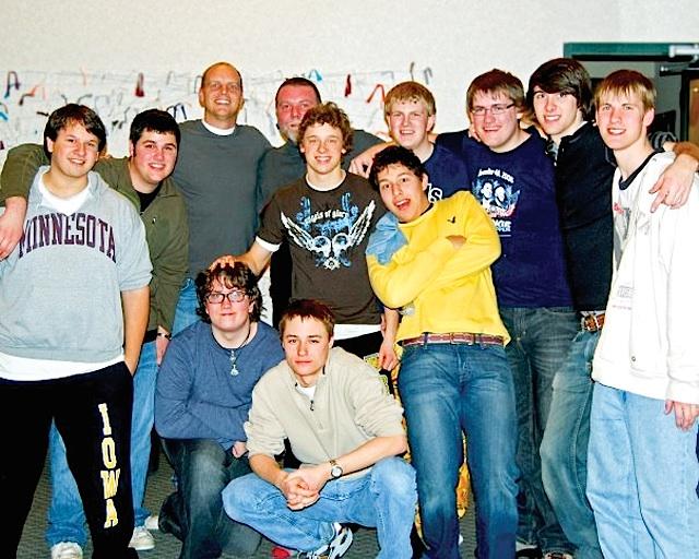 Seniors at WAPO with Mark Johnson, including Isaac van Bruggen, third from right. Photo courtesy of the Minnesota Boychoir
