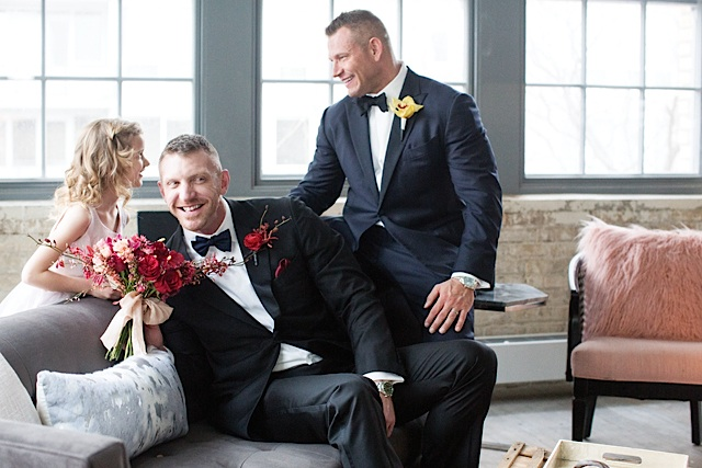 Isaia tuxedos from Martin Patrick 3; Eton shirts; Ryan Seacrest Distinction bow ties and pocket squares from Macy's; Magnani shoes; and David Yurman rings.