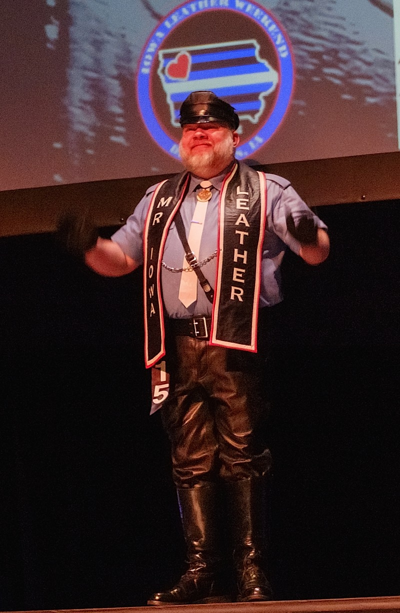 Mr. Iowa Leather 2016 Rob Anderson at Sunday's International Mr. Leather 2016 contest and show. Photo by Steve Lenius.