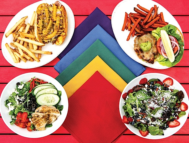 Clockwise from top left: Cubano topped with pickle fries and side of house fries; Blackened chicken sandwich with ghost pepperjack cheese and side of sweet potato fries; Seasonal berry salad; Greek quinoa salad with chicken.