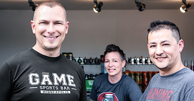 (From left) Mike LaGuire couldn't be happier to have the talents of Ralena Young and Jorge Gonzalez join the team at Game Sports Bar. (Below) Ralena Young is designing the drink menu with a focus on fresh ingredients.