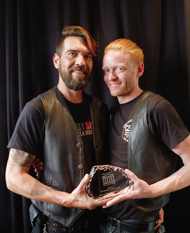 Karri Plowman and Tynan Fox, TCL&L owners, winners of Pantheon of Leather Award for Business of the Year 2016. Photo by Steve Lenius.