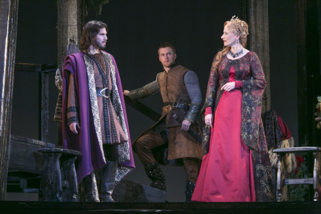 Michael Hanna (Geoffrey), Torsten Johnson (Richard) and Laila Robins (Queen Eleanor of Aquitaine) in the Guthrie Theater's The Lion in Winter. Photo by Heidi Bohnenkamp