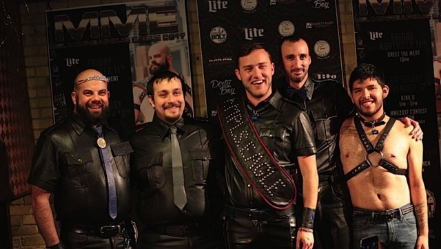 """At the conclusion of the Mr. Minneapolis Eagle 2017 contest, left to right: L. Russell Waisanen (Mr. Minneapolis Eagle 2016), Teddy Covey, Eric """"Pup Omega"""" Stafford (Mr. Minneapolis Eagle 2017), Dick Salami and Mike Sletten. Photo by Andrew Bertke."""