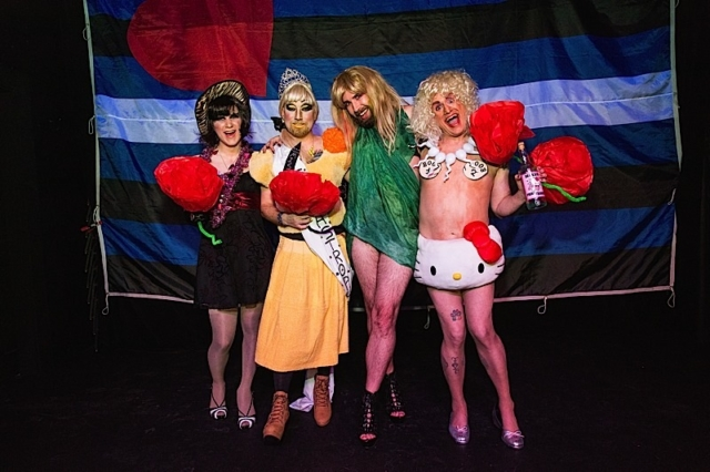The evening's four contestants at the conclusion of this year's Ms Catastrophe contest. Photo by Andrew Bertke.