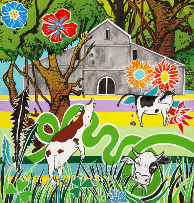 """""""Cows Can Dream"""" painting by Maria Bajt"""
