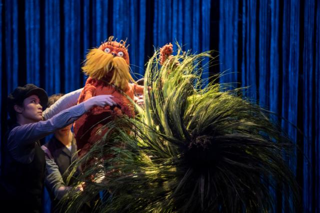 Meghan Kreidler, Rick Miller and H. Adam Harris puppeting The Lorax in Dr. Seuss's The Lorax Photo by Dan Norman