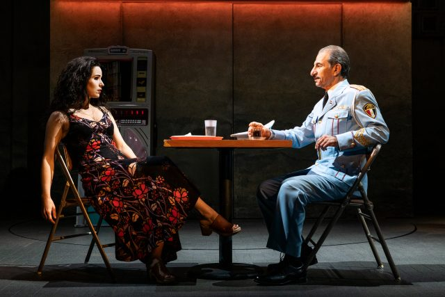 """Chilina Kennedy and Sasson Gabay in """"The Band's Visit"""". Photo by Matthew Murphy"""