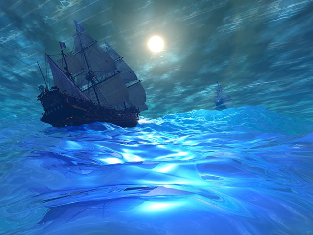 Two ships navigate high seas on this stormy night.
