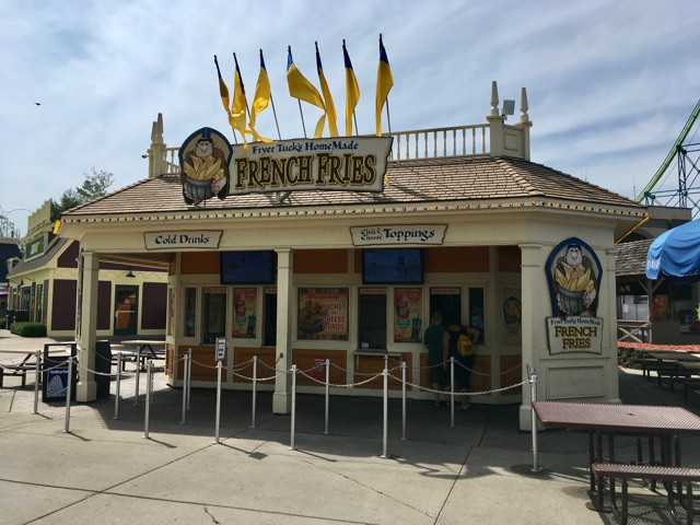 A fresh facade graces the face of the french fry place where I spent two summers, slinging spuds