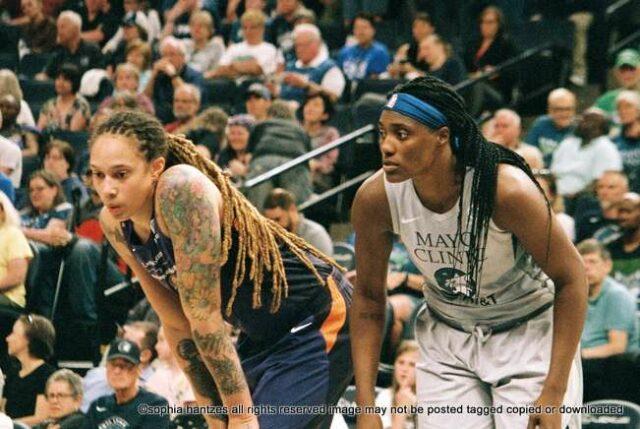 Brittney Griner Phoenix Mercury and Sylvia Fowles of the Minnesota Lynx