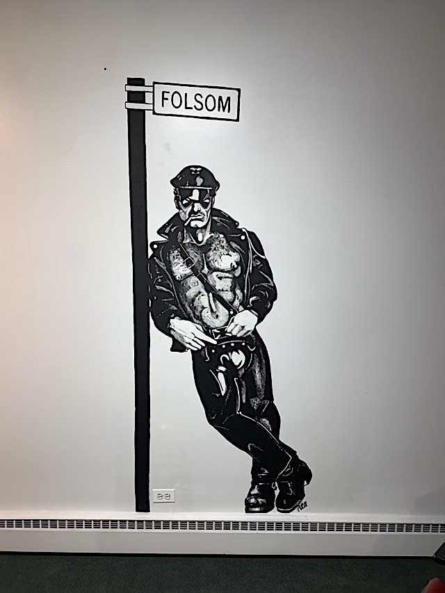 """Artwork on display as part of the """"Verboten: Works by Rex"""" exhibit at the Leather Archives and Museum, Chicago."""